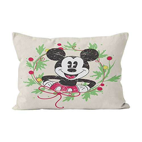 Suike Vintage Mickey Mouse Christmas Wreath Unique Hidden Zipper Home Decorative Rectangle Throw Pillow Cover Cushion Case King 20x36 Inch One Side Design Printed Pillowcase