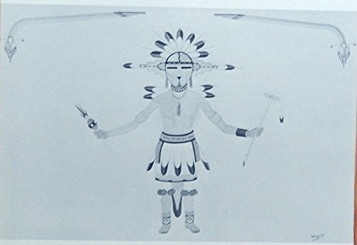 Indian Kachina (Hopi. Flute Kachina, painting by Harry Sakyesva, print art, from vintage Indian Paintings Book)