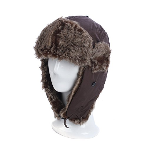 Winter Warm Faux Fur Trapper Ski Snowboard Hunter Hat, Brown