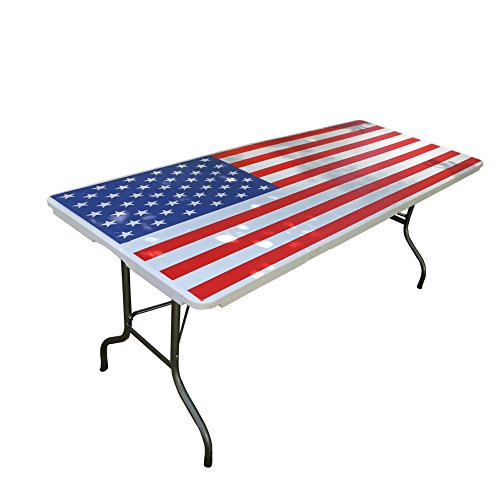 SPORT BEATS 6′ Blow Mould Foldable Table with American Flag Full Graphic Protable Design for Outdoor Picnic, Indoor Pary,Camping, Barbecue