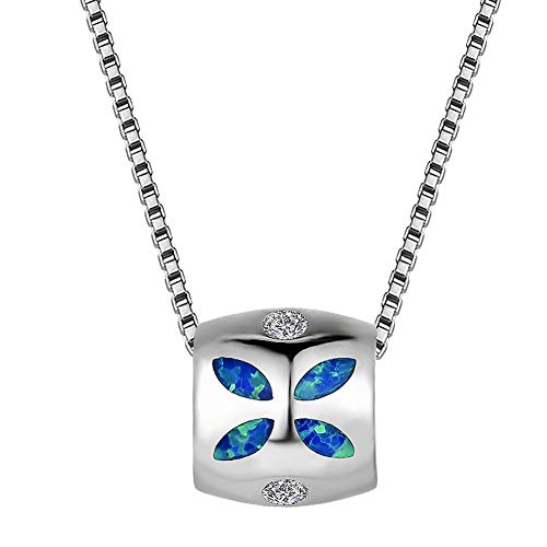 OMZBM Elegant Round Barrel Shaped Blue Leaf Fire Opal Pendant Necklace,925 Sterling Silver White Gold Plated Hypoallergenic Girl Clavicle Chain with Adjustable Tail Chain