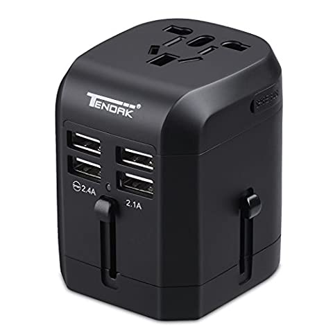 Travel Charger Adapter, Tendak 4-Port USB Wall Charger with US UK EU AU Universal International Power Plug Adapter for iPad, iPhone, Samsung Galaxy S7 / S6 Edge, Note, LG, HTC, Power Bank and (Usb Power Adaptor Ipad)
