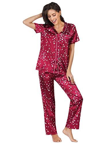 Zexxxy Women Short Print Pajama Notch Collar Contrast Piping Nightie Wine Red L