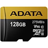 ADATA Premier ONE 128GB SDXC UHS-II U3 Class10 V90 3D NAND 4K 8K Ultra HD 275MB/s Micro SD Card Only (AUSDX128GUII3CL10-C)