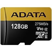 ADATA Premier ONE 128GB SDXC UHS-II U3 Class10 V90 3D NAND 4K 8K Ultra HD 275MB/s Micro SD Card (AUSDX128GUII3CL10-C)