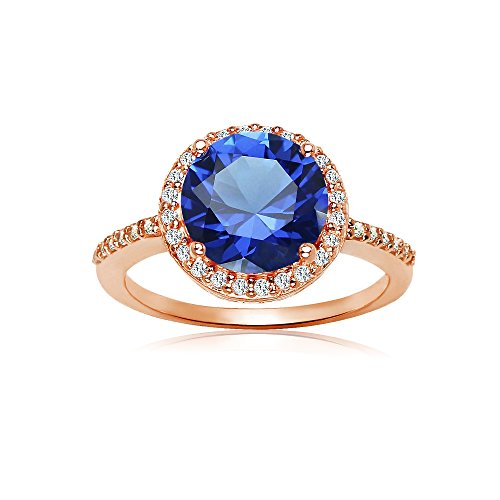 Rose Ring Sapphire (Rose Gold Flashed Silver Simulated Blue Sapphire and Cubic Zirconia Round Halo Ring, Size7)
