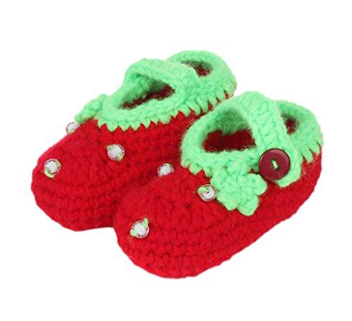 Smile YKK Strickschuh Strick Schuh Baby Unisex süße Stil One-Size 11cm Erdbeerstaude Rot
