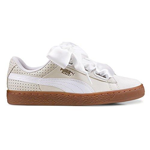 Gris Mujer Para Blanco Perf Gum Puma Heart Basket Zapatillas rUq7IRr