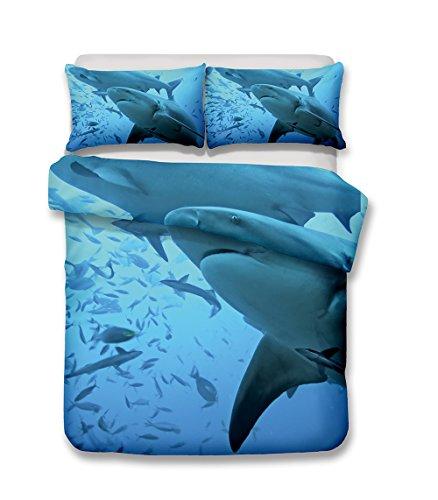 Damara Ferocious Shark Series 3D Bedding Set Print Duvet Cover Set Lifelike Bed Sheet Without Any Filling#01 (4, Queen) (Cover Duvet Series)