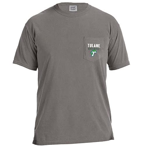 eb97e995f NCAA Tulane Green Wave Baseball Frame Short Sleeve Comfort Color Pocket T- Shirt