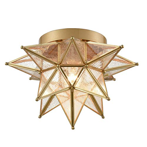 Dazhuan Brass Moravian Star Light Flush Mount Celing Lights Seeded Glass Shade Boho Moroccan Ceiling Lamp for Kitchen Foyer (Light Shaped Fixture Ceiling Star)