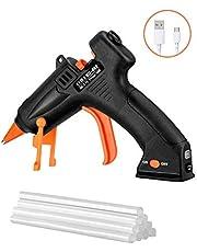 Cordless Hot Glue Gun, TOPELEK 15W Mini Hot Glue Gun with Sticks(10Pcs 140mm), USB Rechargeable Hot Melt Glue Gun for DIY Crafts, Quick Repairs, Home, School, Office Arts