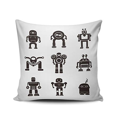 AIHUAW Home Decorative Cushion Covers Throw Pillow Case Robot Pillowcases Square 22x22 Inches Double Sided Printed (Set of 1) ()