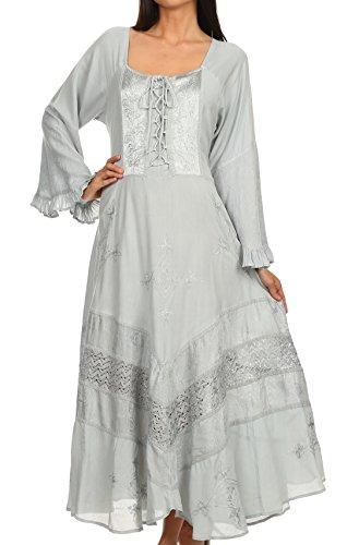 [Sakkas 15223 - Mirabel Stonewashed Corset Style Floral Emboridery Kimono Sleeve Dress - Silver -] (Renaissance Style Dress)