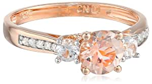 10k Rose Gold Morganite and Diamond Ring (0.05 Cttw, G-H Color, I1-I2 Clarity), Size 6