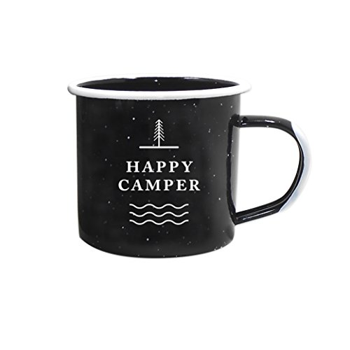 Eco Friendly Mugs - Journo Happy Camper Enamel Camping Mug - Black, 12 Oz (350 ml), Ecofriendly Outdoor Camper Mugs Ideal For Early Morning Coffee Or Cold Campfire Beer. (2 Custom Designs To Pick From. By Travel Co.) …