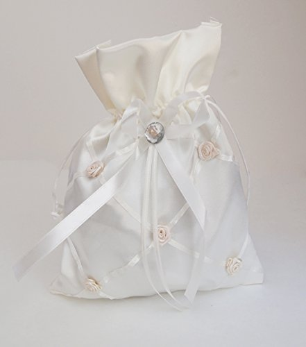 Wedding Drawstring Bridal Favor Money Bag Purse (Ivory Money Bag with SAtin Flower accent)