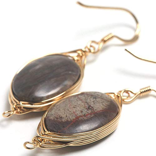 Natural Stone Wire Wrap Dangle Drop Earrings Gold Plated 925 Sterling Silver Hook/Rainforest Agate