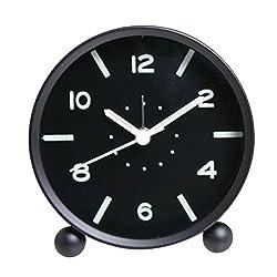 Happy Hours - Creative Fluorescent Bedside Alarm Clock / Easy Carry Sweet Sleep Luminous Round Alarm Clocks(Black)