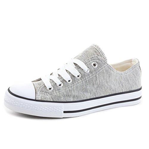 Mode Enfants Unisexe Hommes Lacent Baskets Gris Bas Tissu Toile Chaussures Haut
