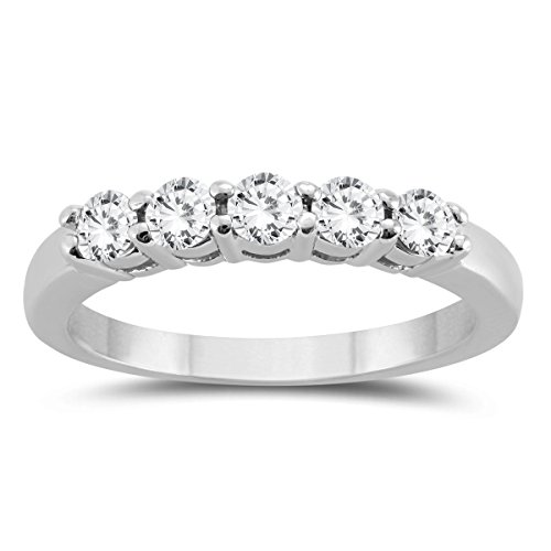 AGS Certified 1/2 Carat TW Five Stone Diamond Wedding Band in 10K White Gold