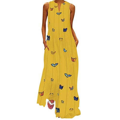 Women Long Maxi Dress Butterfly Printed Vintage Sleeveless Striped Dress Yellow