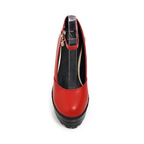 VogueZone009 Damen Hoher Absatz Weiches Material Rein Schnalle Zehe Pumps Schuhe Rot