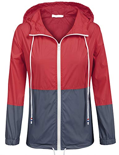 SoTeer Womans Long Sleeve Lightweight Waterproof Outdoor Raincoat W/Hooded (Red/Navy XL) (Best Waterproof Clothing Material)