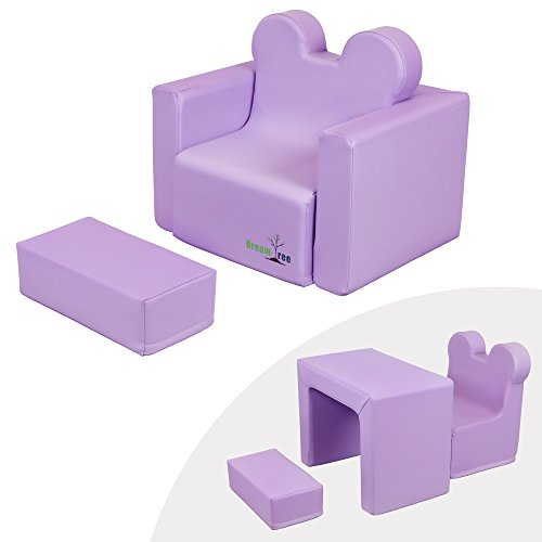 Dream Tree Toddler Table and Chair Set (Sofa Type) Washable, Safe Non-Toxic CPSIA Compliant Soft Foam Furniture for Baby, Kids, and Child - Lavender by Dream Tree