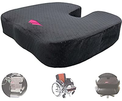 FoMI Ultra Thick Coccyx Orthopedic Anti Slip Memory Foam Seat Cushion. Black Velour Cover. For Car Seat, Office Chair, or Wheelchair; Back Pain and Sciatica Relief