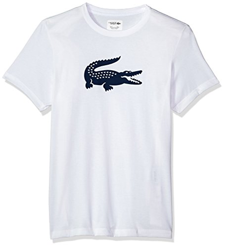 Lacoste Men's Short Sleeve Jersey Tech with Gator Graphic Logo T-Shirt, TH3377, White/Navy Blue, (Lacoste Crocodile Logo)