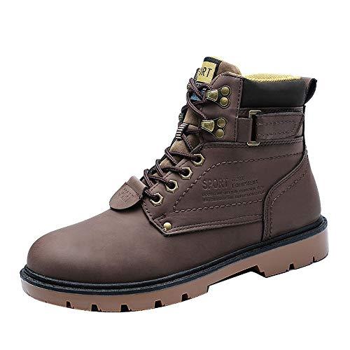Forrado No Impermeables Casual Piel 2 Invierno Cuero Martin Botas Marrón 2018 Cálido Hombre De Seguridad Zapatos Deslizamiento URPvwq