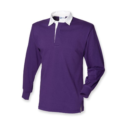 Front Row Long Sleeve Classic Rugby Shirt, 14 Colours, S - Deep Purple/White - - Jersey S/s Snowboard