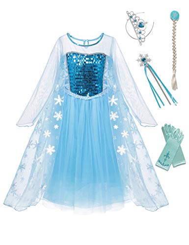 aibeiboutique Snow Queen Princess Elsa Costume Toddler Girls Sequins Dress -