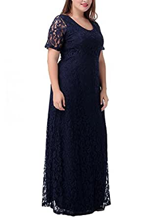 Nemidor Women's Full Lace Plus Size Elegant Wedding Pary Maxi Dress Blue 14W