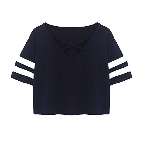 Mikey Store 2018 Clearance Women Loose Tops Ladies Short T-Shirt Casual Blouse (Medium, Navy) -