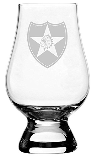 - United States Army 2nd Infantry Division Etched Glencairn Crystal Whisky Glass