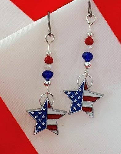 Handcrafted American Flag Patriotic Star Charm Earrings With Hypoallergenic Niobium Ear -