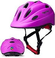 Kids Bike Helmet Toddler Helmet with LED Light Adjustable Toddler Cycling Helmet Boys Girls Ages 3-8 Years Old
