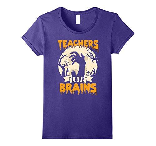 Womens Teachers Love Brains Halloween T-Shirt XL Purple -