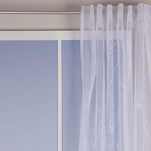 BELLISSIMA VITA' – Tenda con passanti, ricamata, magnolia, tinta unita, colore: bianco, 140 x 245 cm