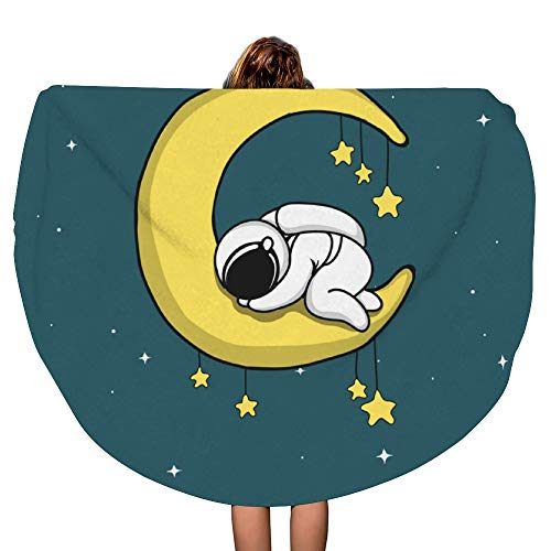 SARA NELL Thick Round Beach Towel Blanket - Astronaut Sleeps On Crescent Moon Large Circle 60 Inch Circular Mat - Ultra Soft Super Water Absorbent Multi-Purpose Towel