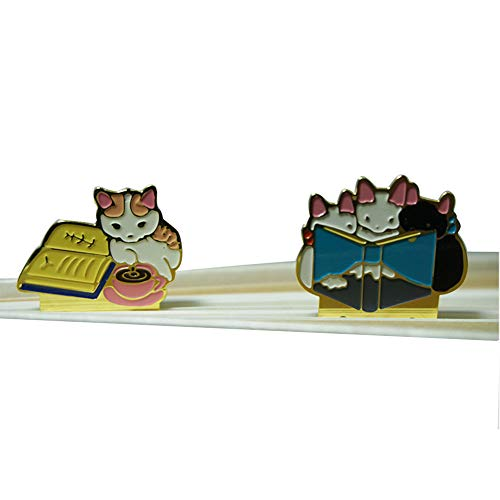 (Cute Cat Family Gold Metal Bookmark, Japanese Oritental Style Mini Bookmarker, Gift for Students, Set of)