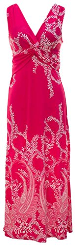 Peach Couture Paisley Knotted Sleeveless Maxi Dress Beach Dress Evening Dress (Small, Fuchsia)