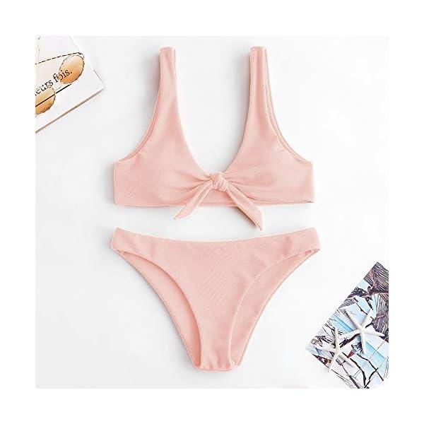 ZAFUL Costume da Bagno Push-up Bikini Donna Imbottito Annodato a Costine da Donna Swimwear 4 spesavip