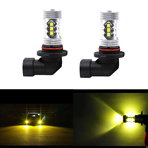 (Dantoo 2 x 9006 LED Fog Light Bulbs HB4 LED Bulbs Extremely Bright 3000K 16 SMD Fog Light Lamp Replacement for DRL or Fog Lights, Gold Yellow)