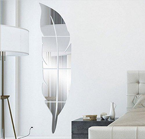 Globalway - Calcomanía Decorativo para Pared, Diseño de Espejo acrílico con Superficie 3D, Plateado, Tala Única