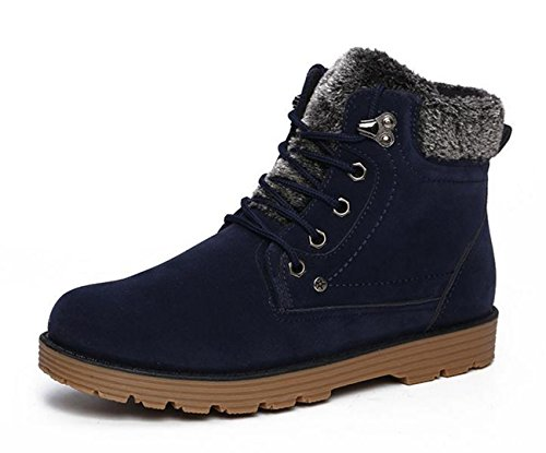 Yougao Mens Winter Lace-up Ankle Waterproof Fur Snow Boots Blue Z1jqi