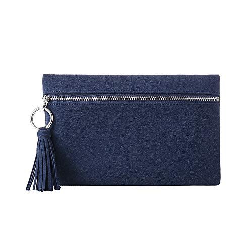 - Suede Clutch Purses Bags with Tassels for Women Clutches Pouch Casual Zipper Front Handbag Metal Ring Detail(Navy Blue)