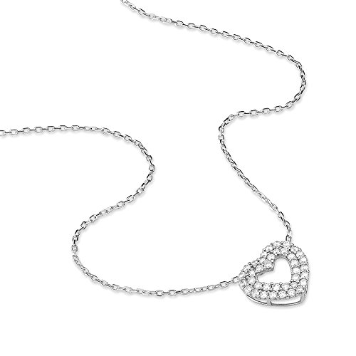 HISTOIRE D'OR - Collier Or Blanc C?ur et Oxydes 42cm - Femme - Or blanc 375/1000